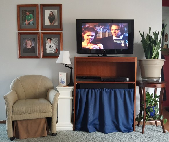 "TV Raised Up on Hutch, ""Surround Sight, Not Surround Sound"" frugalfish.org"
