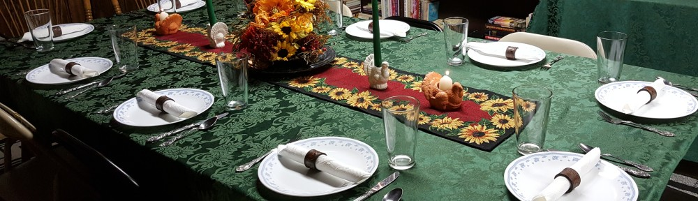 "Dining Room Tablescape ""Indian Summer Thanksgiving"" frugalfish.org"