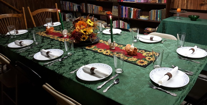 """Dining Room Tablescape """"Indian Summer Thanksgiving"""" frugalfish.org"""