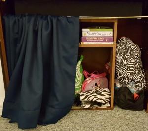 "Toys on Shelf Behind Curtain ""Surround Sight, Not Surround Sound"" frugalfish.org"