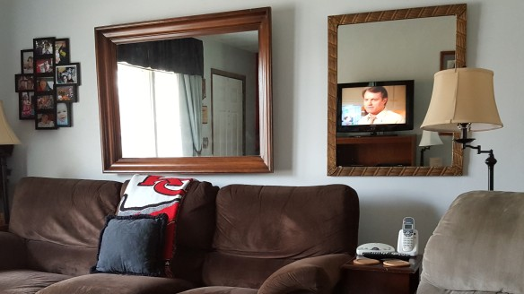 """TV Reflected in Mirror """"Surround Sight, Not Surround Sound"""" frugalfish.org"""