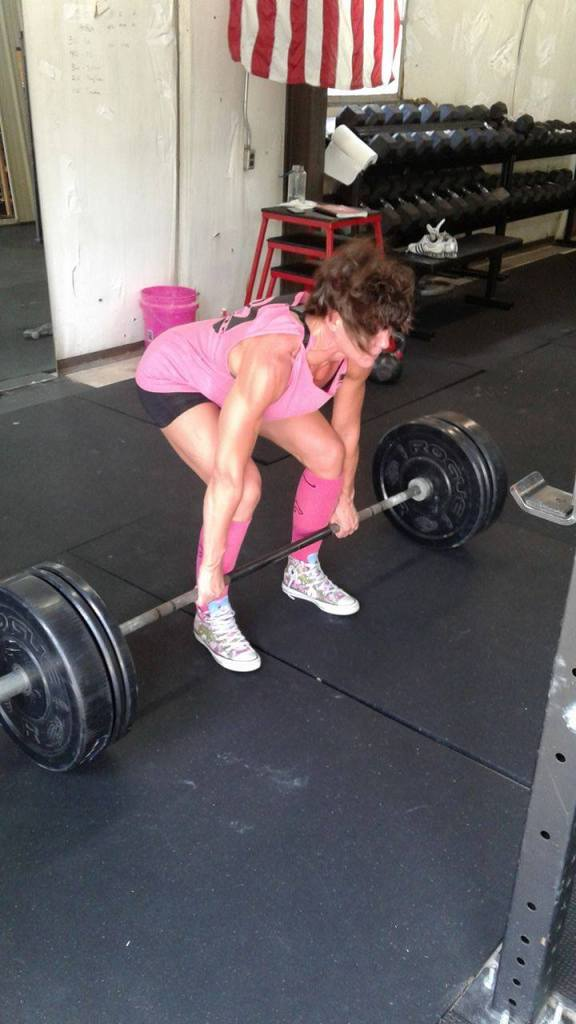 """Jenny lifting in her gym """"Resolved . . """" frugalfish.org"""