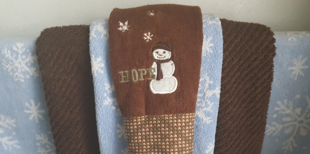 "Snowman towels ""Whiter than Snow"" frugalfish.org"