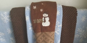 """Snowman towels """"Whiter than Snow"""" frugalfish.org"""