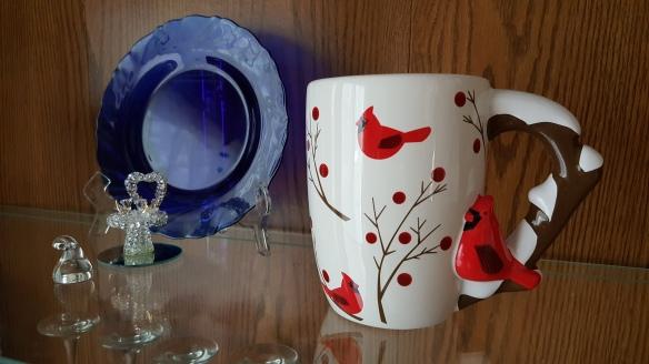 "Glass Bird Bath, Candy Kiss, and Cardinals Mug ""Hearts, Lips, and Bears"" frugalfish.org"