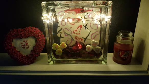 """Glass Block with LIghts """"Lighted Valentine Glass Block"""" frugalfish.org"""