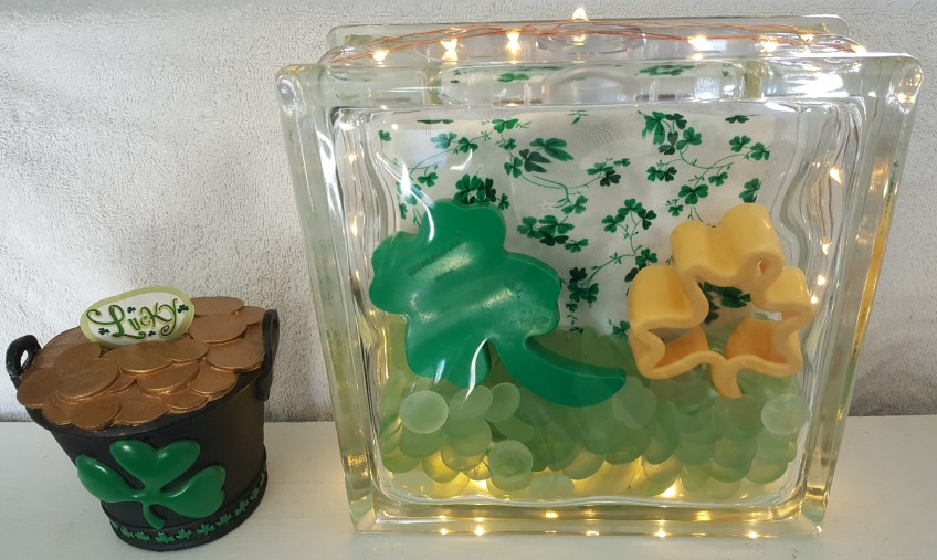 "St. Patrick's Day Glass Block, ""St. Patrick's Day 2017"" frugalfish.org"