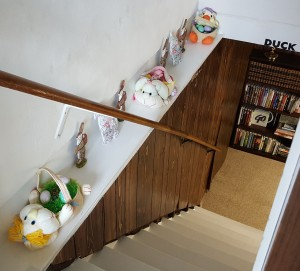 """Easter Baskets in Stairwell """"Lilac Easter Dinner"""" frugalfish.org"""