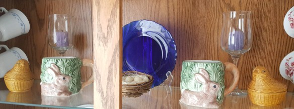 "Hen Baskets and Bunny Mugs in China Cabinet ""Lilac Easter"" frugalfish.org"