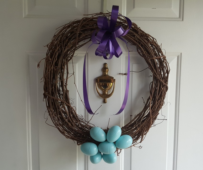 "My Easter Wreath ""Lilac Easter Dinner"" frugalfish.org"