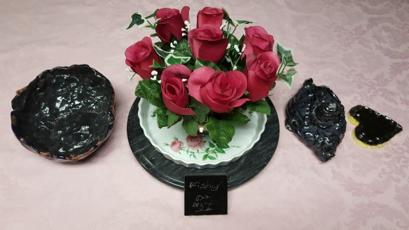 "Clay Bowl, Teapot, Heart, and Marble Plaque with Roses Bouquet ""Displaying Precious Artwork"" frugalfish.org"