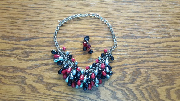 """My Refurbished Earrings with my statement necklace """"Goodbye Disco Balls"""" frugalfish.org"""