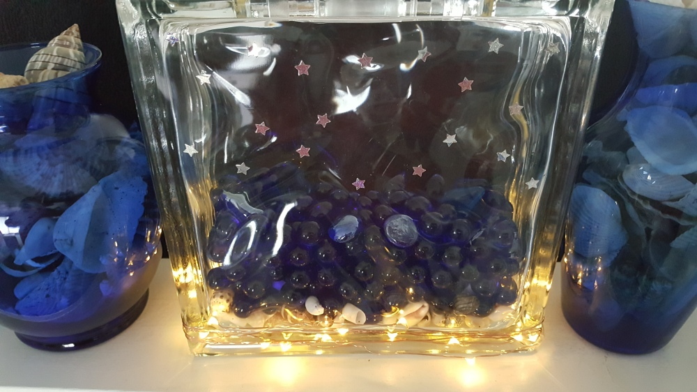 """Shells, Marbles, and Glass Rocks in Glass Block """"Ocean in the Middle of Iowa"""" frugalfish.org"""
