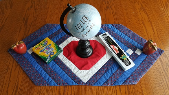 """Globe, Crayons, and Paint in kitchen """"An Apple for the Teacher"""" frugalfish.org"""