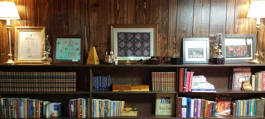 """Priceless Artwork on Bookshelf """"An Apple for the Teacher"""" frugalfish.org"""