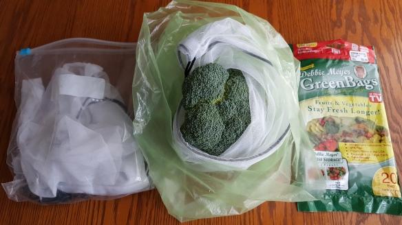 "Reusable produce bags inside a green bag ""Keep Your Veggies Longer"" frugalfish.org"