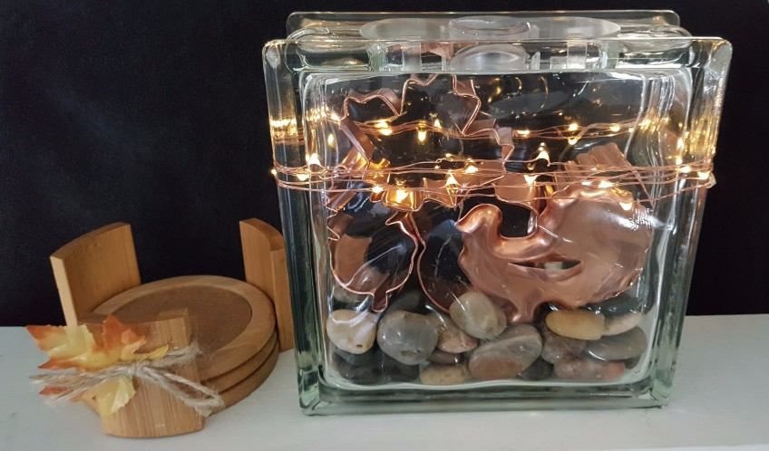 "Copper Cookie Cutters in a Glass Block ""2018 Thanksgiving Home Tour"" frugalfish.org"