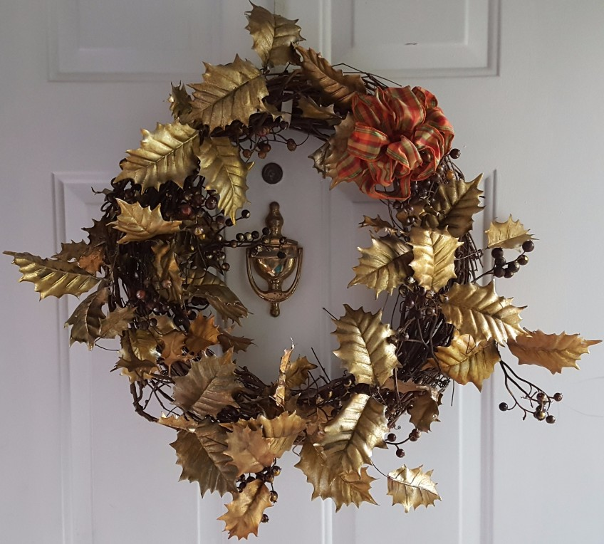 "Gilded Garland Wreath ""2018 Thanksgiving Home Tour"" frugalfish.org"
