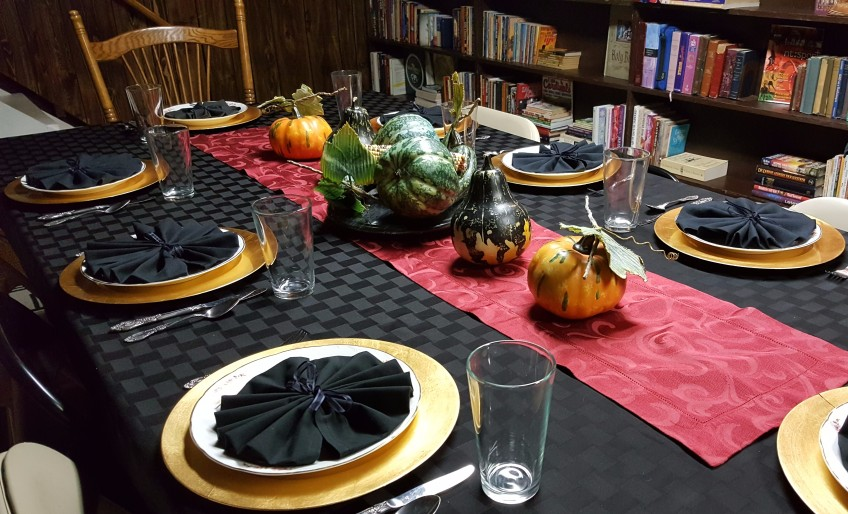 "Napkins Folded into Rosettes Make Sunflower Centers ""2018 Thanksgiving Table"" frugalfish.org"