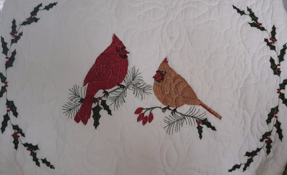"Cardinals on a Quilt ""2017 Christmas Tour"" frugalfish.org"